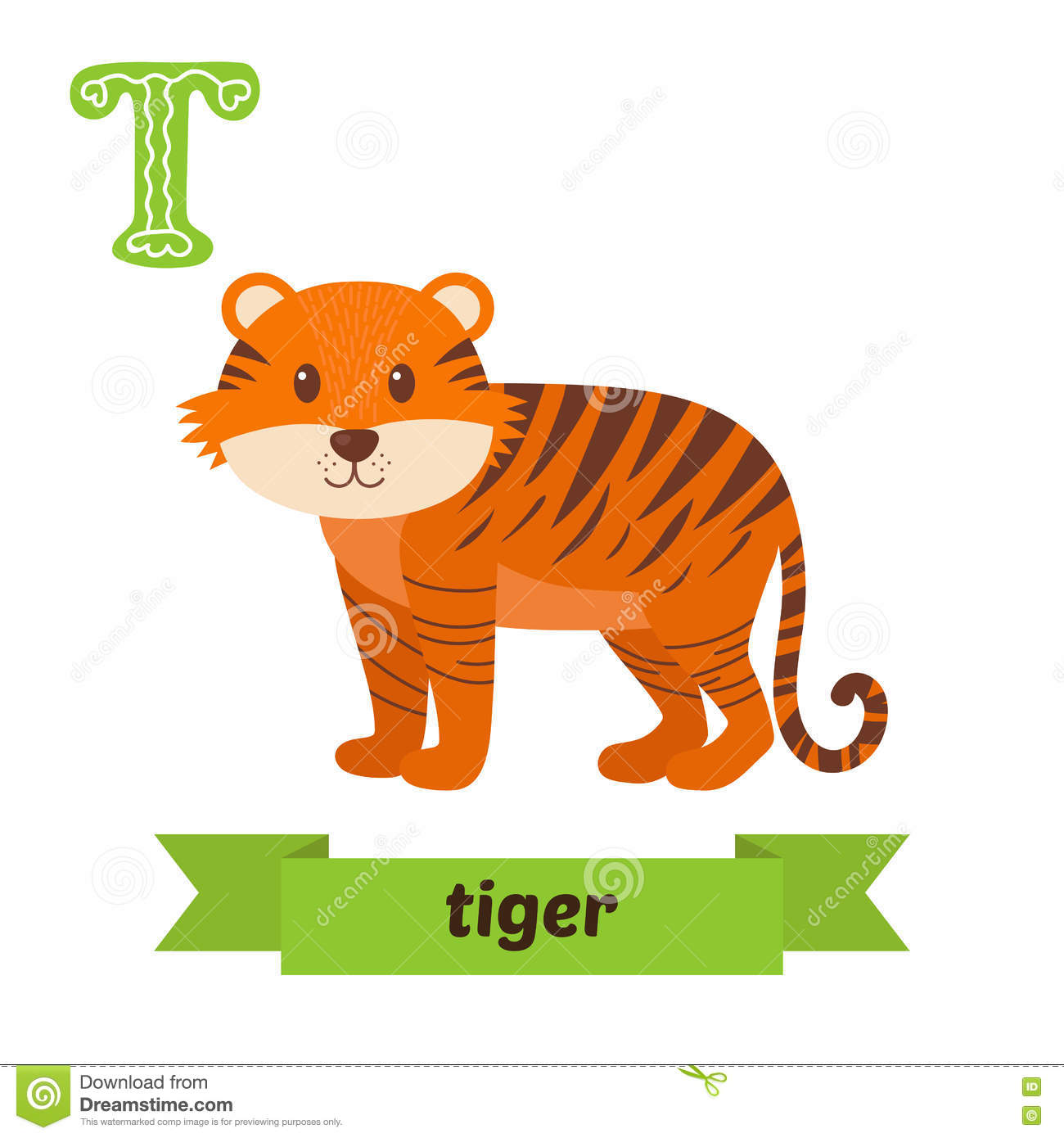 Tiger T Letter Cute Children Animal Alphabet In Vector