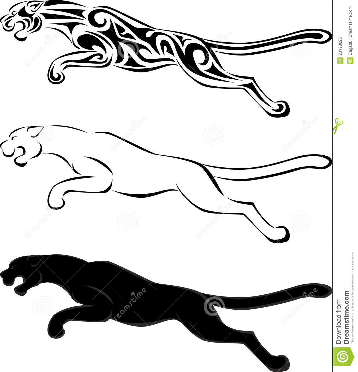 Tiger Tribal Tattoo And Silhouette Stock Vector