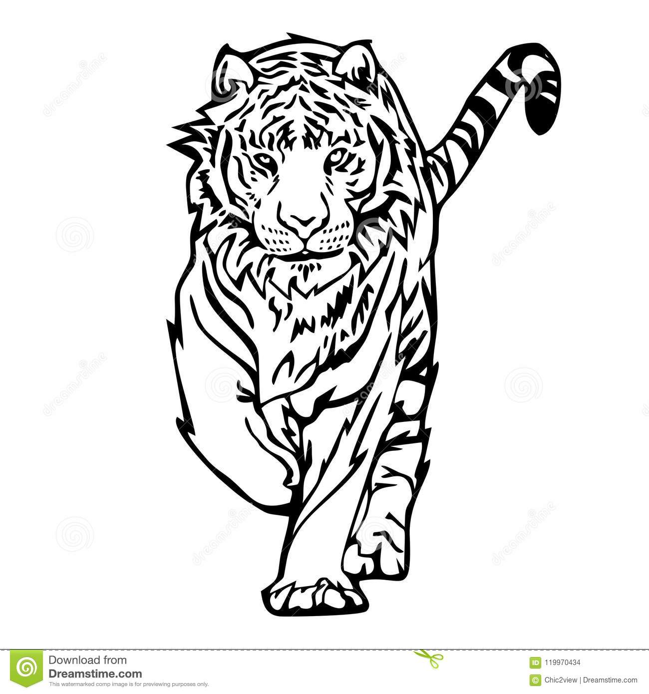 Tiger Walk Silhouette Drawing Tattoo Stock Illustration