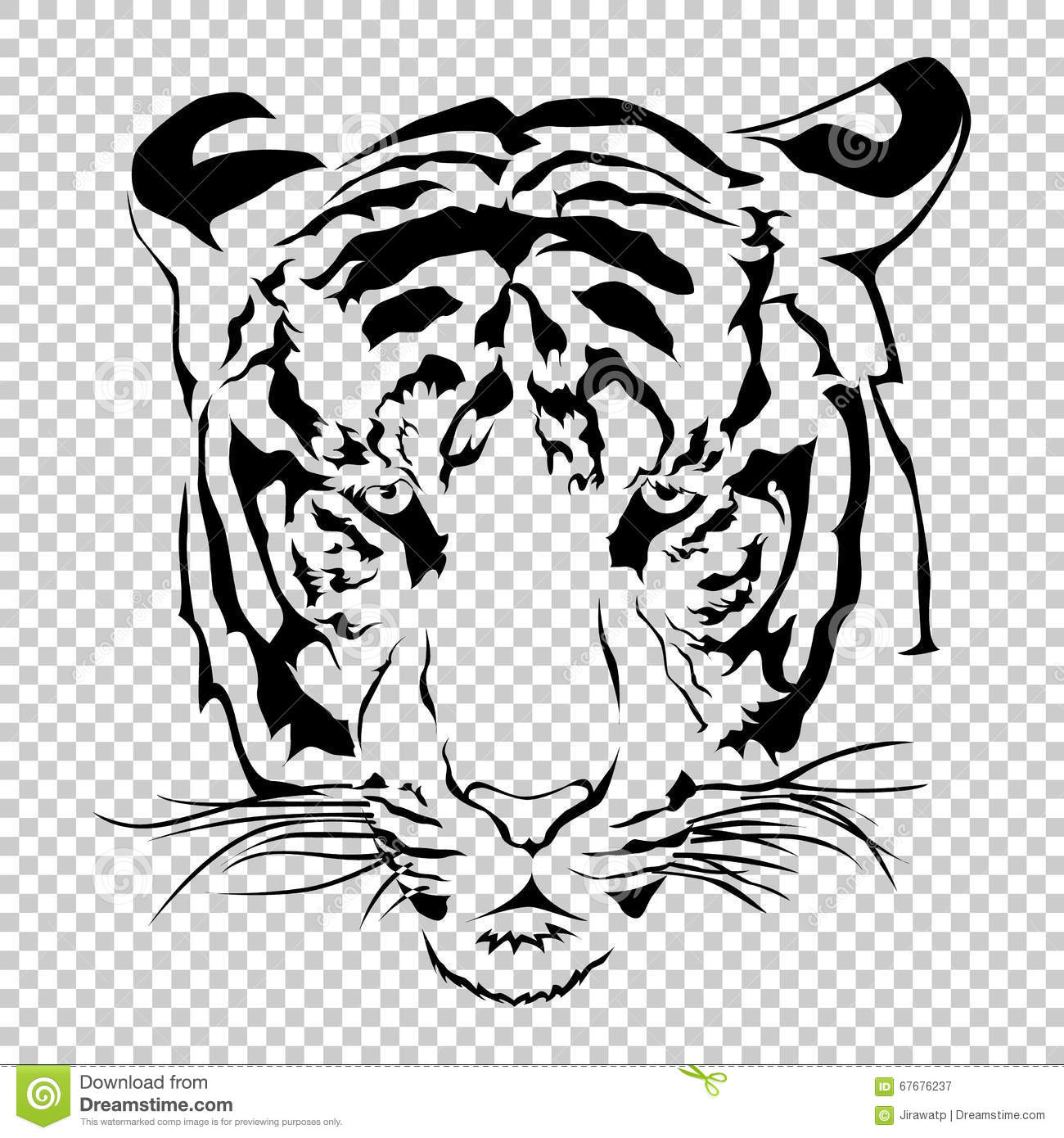 tigers face on transparent