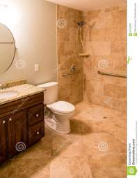 Tile Bathroom With Handicapped Shower Stock Photo - Image ...