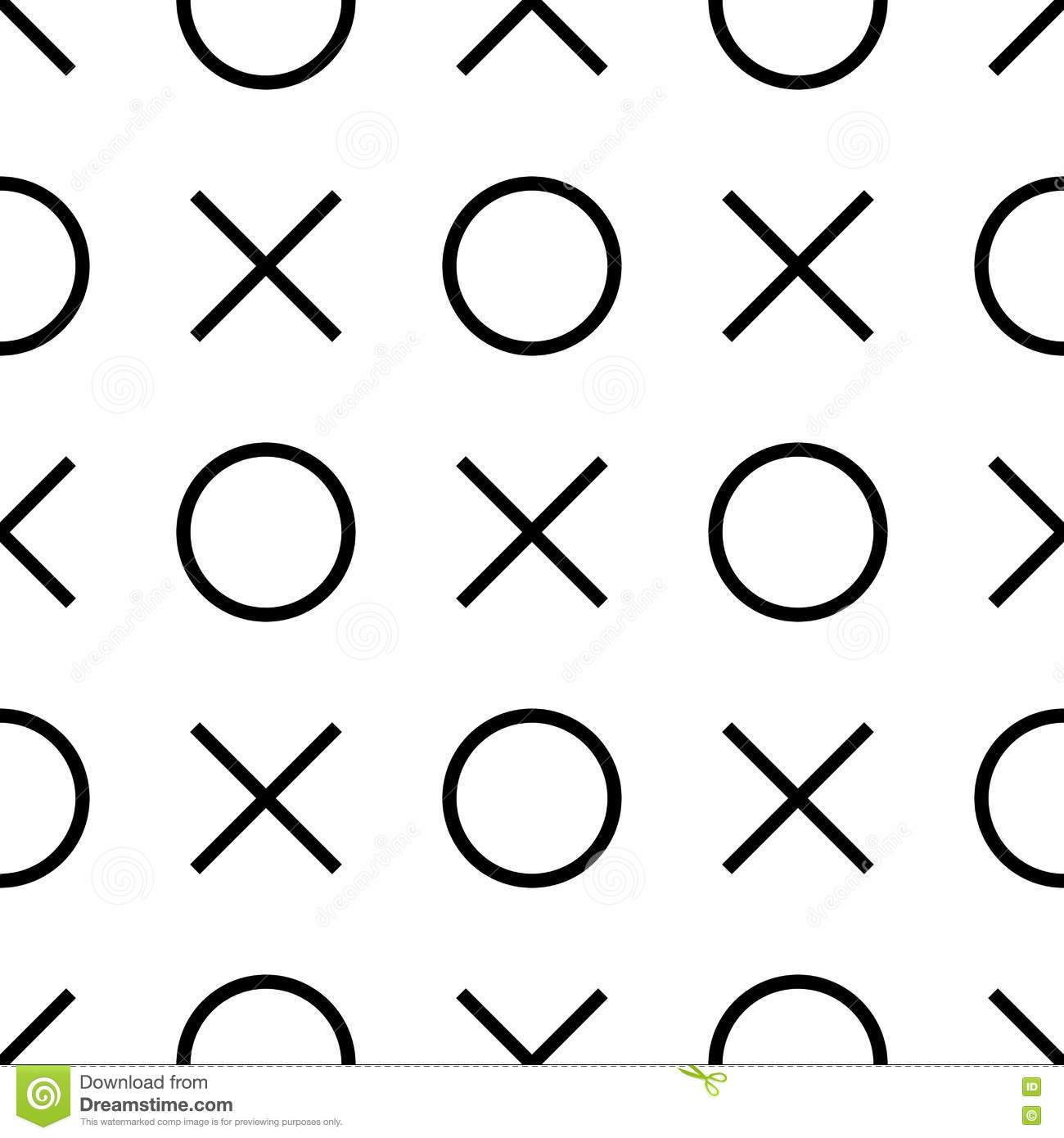 Tile X O Noughts And Crosses Black And White Vector