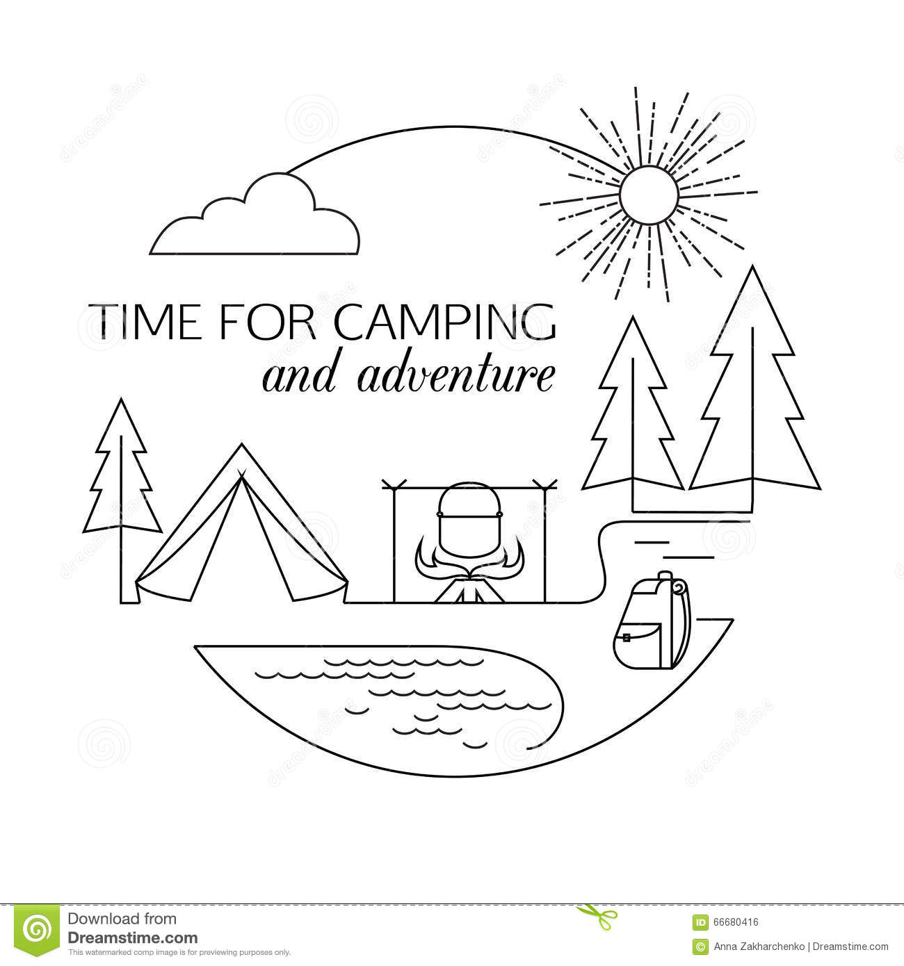 Time For Camping And Adventure. Camping And Forest Travel