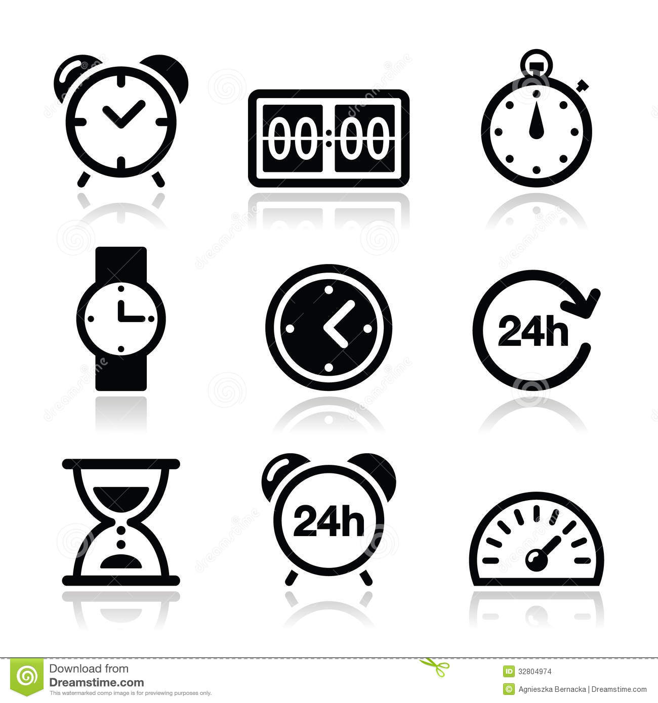Time Clock Icons Set Stock Photo Image Of Electric