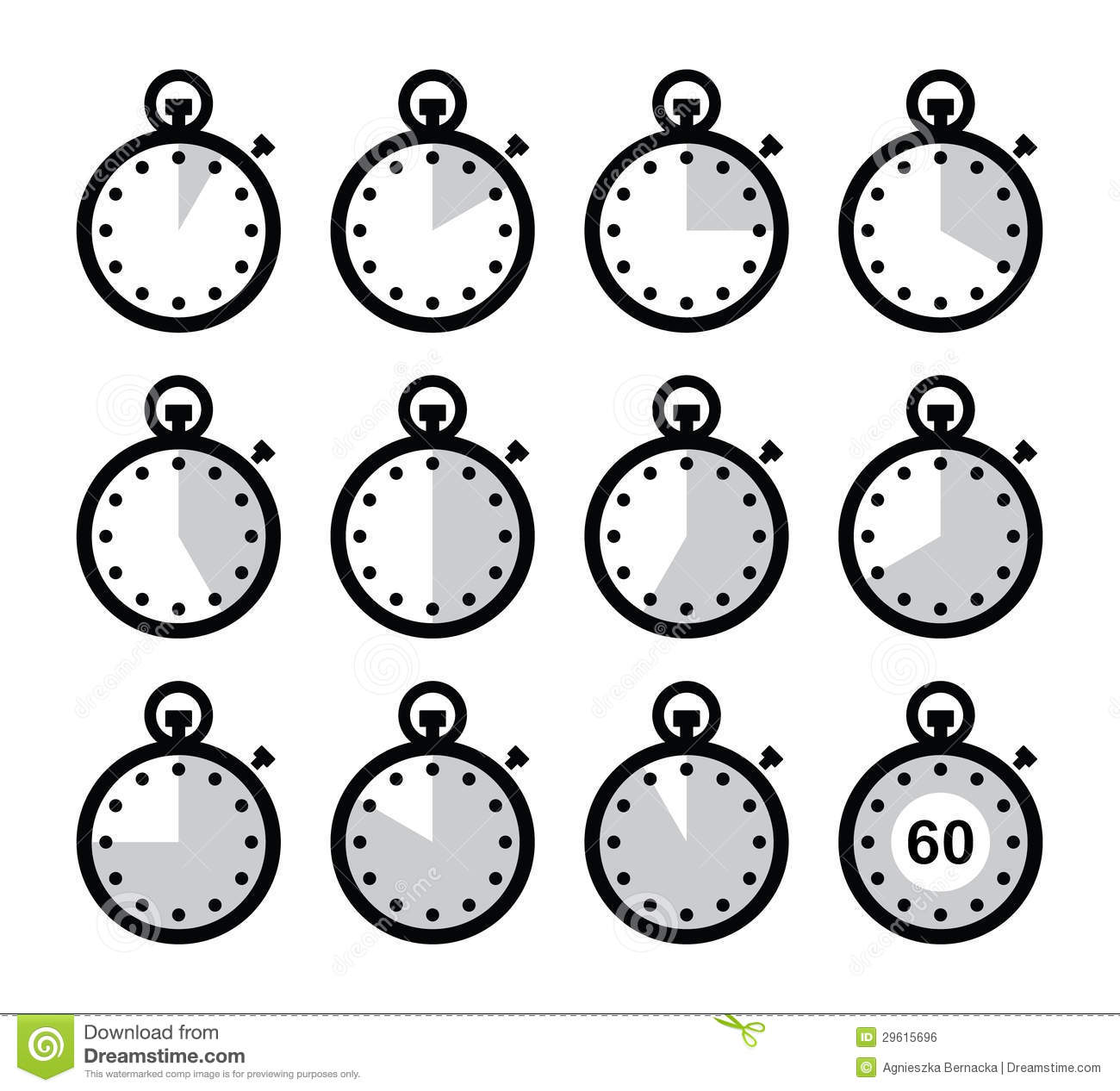 Time Clock Stopwatch Icons Set Royalty Free Stock Image