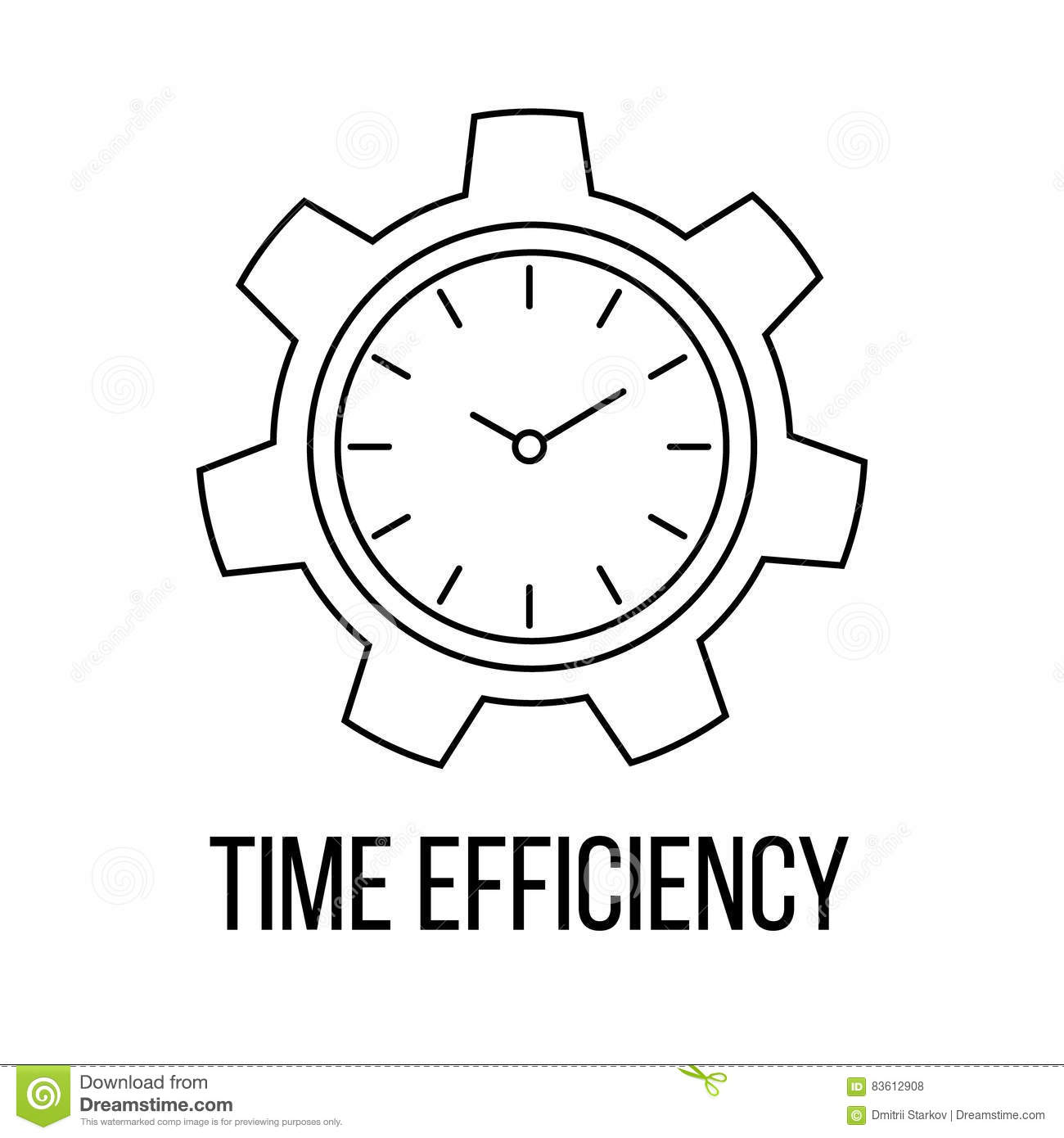 Time Efficiency Icon Or Logo Line Art Style Stock Vector