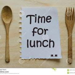 Kitchen Fork Large Trash Can Time For Lunch Written On Note Between Spoon And ...