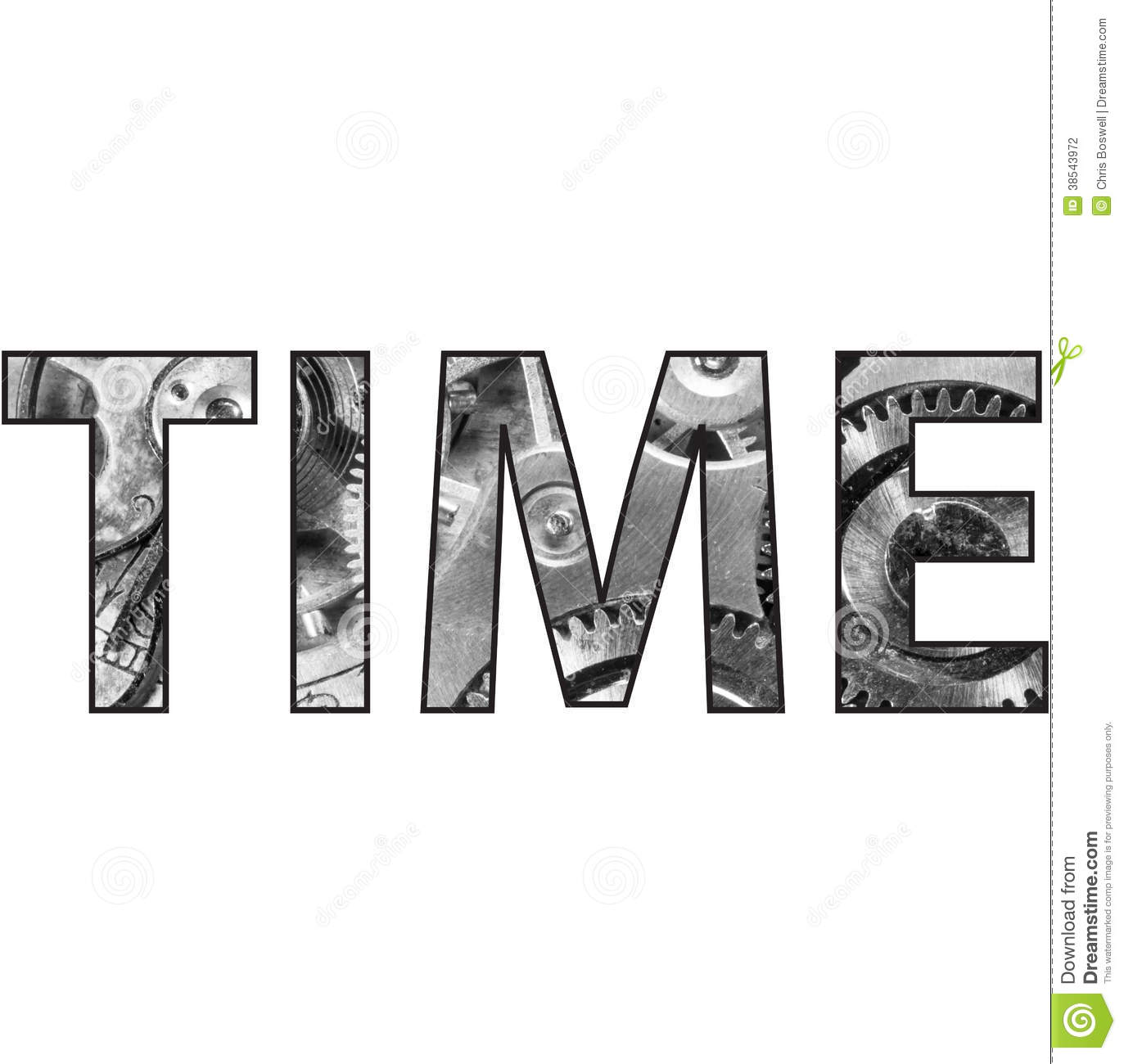 Time Text Word With Pocket Watch Inside Stock Photography