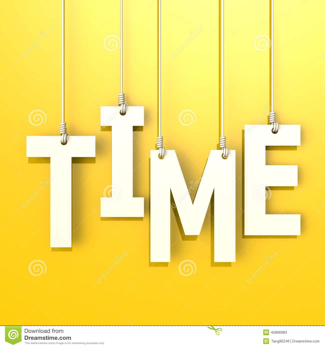 Time Word In Yellow Background Stock Illustration