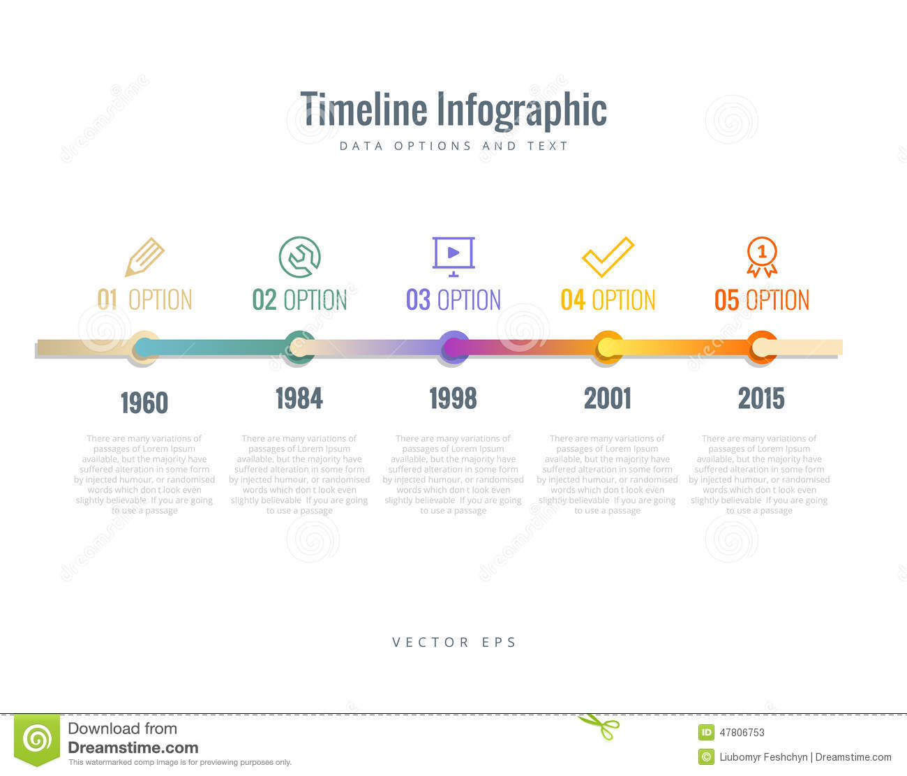 Timeline Infographic With Diagrams Options And Text Stock