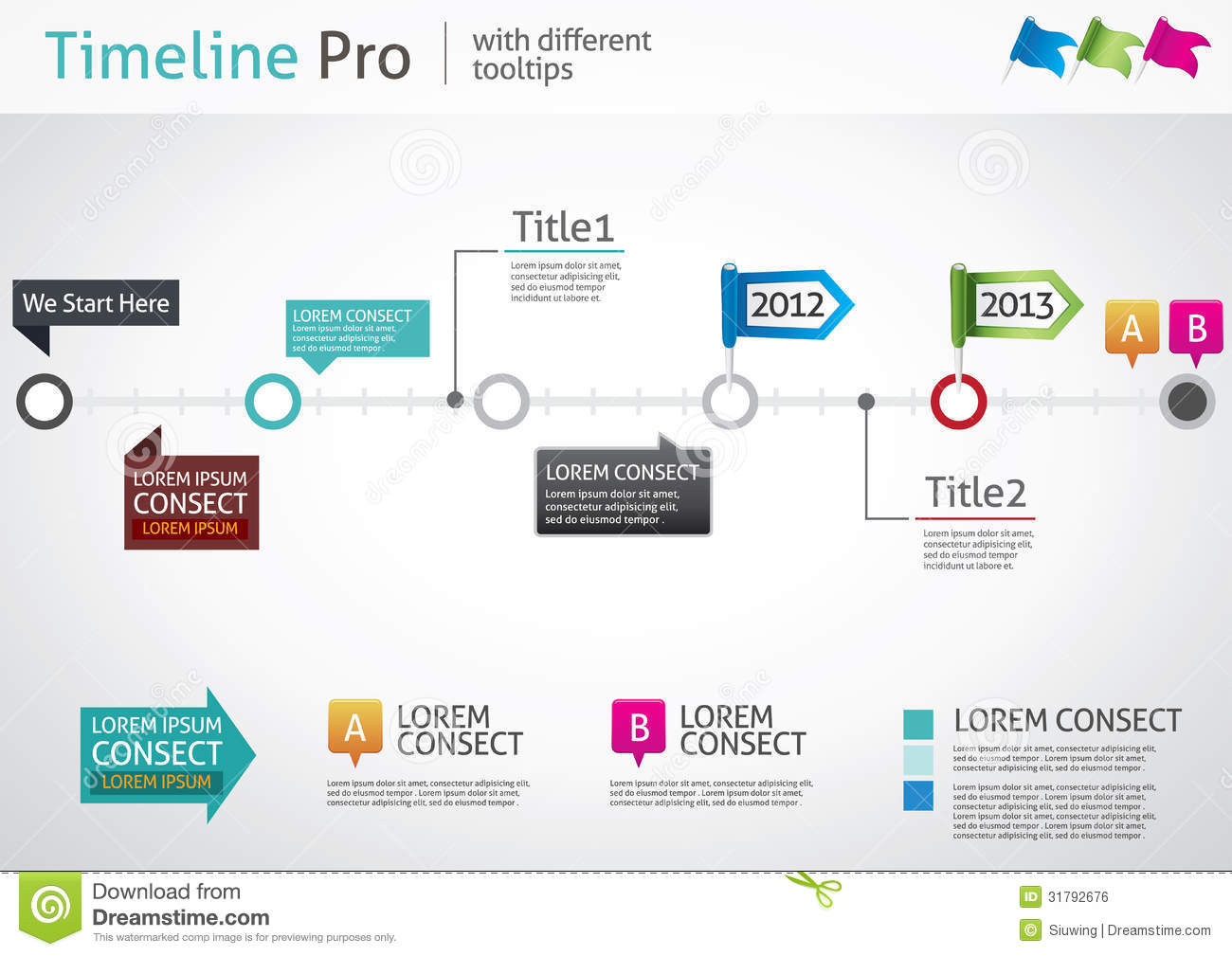 Timeline Pro Different Tooltips Stock Vector