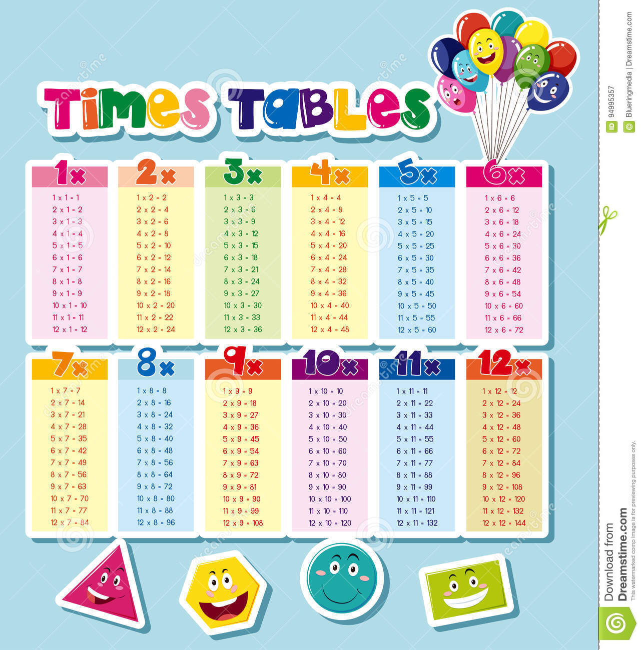 Times Tables Design With Blue Background Stock Vector