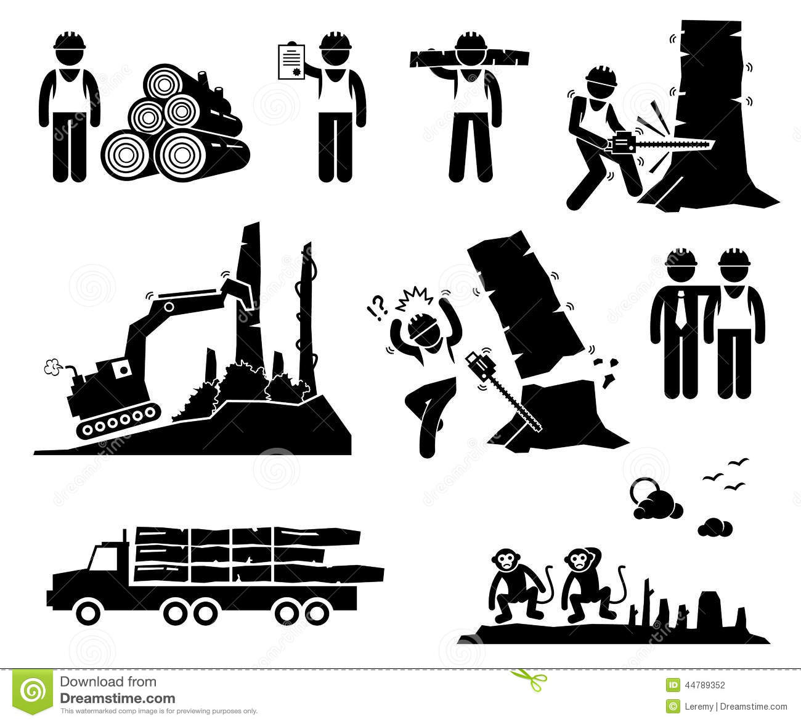 Timmer Som Loggar Arbetarskogsavverkningcliparts Symboler Vektor Illustrationer