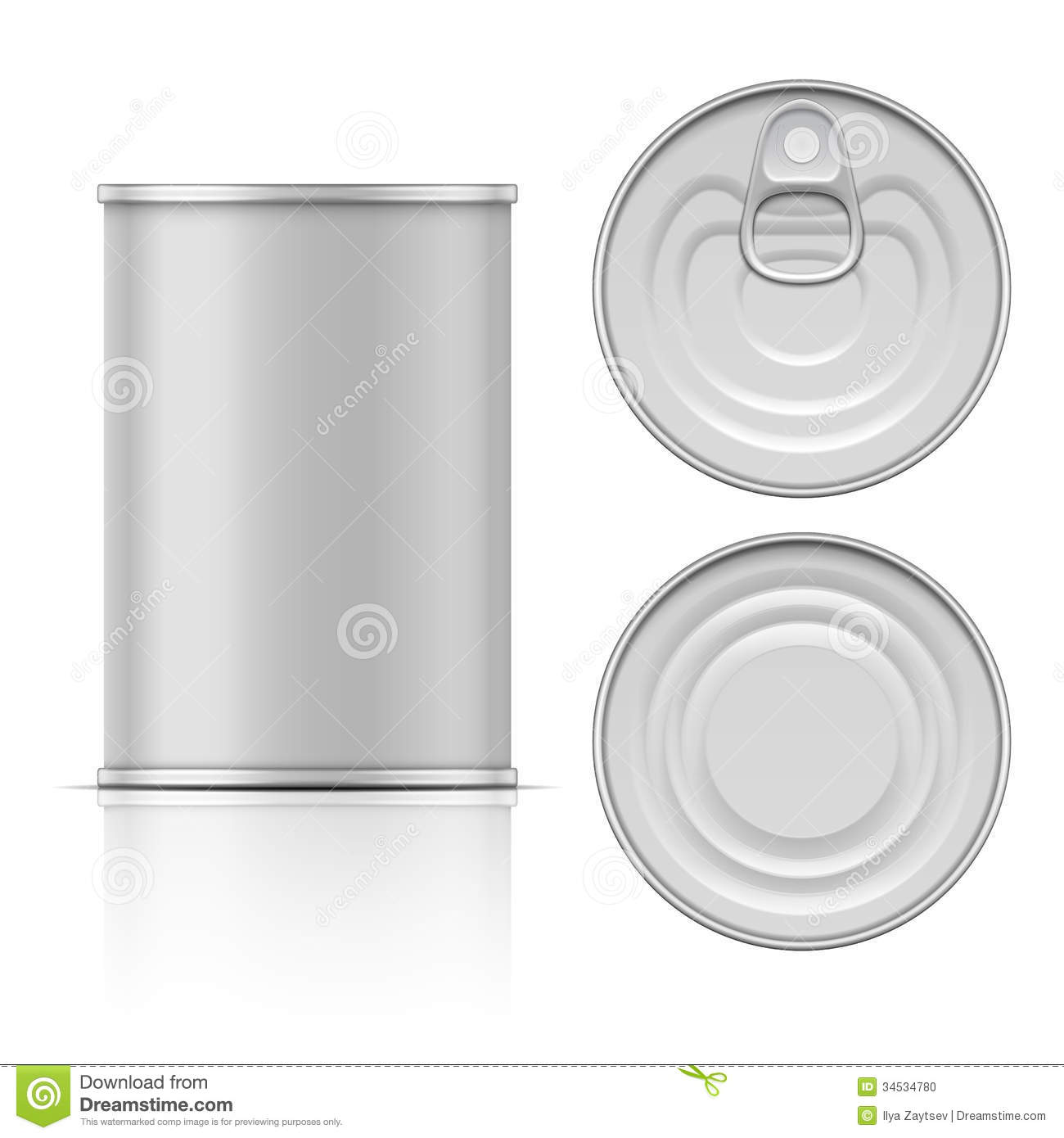Tin Can With Ring Pull Side Top And Bottom View Stock