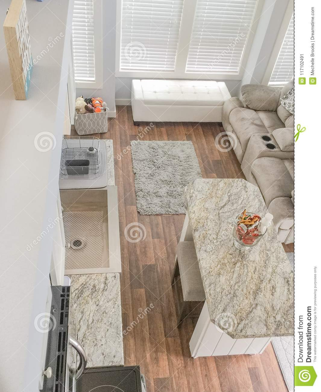 hight resolution of tiny house living and kitchen area