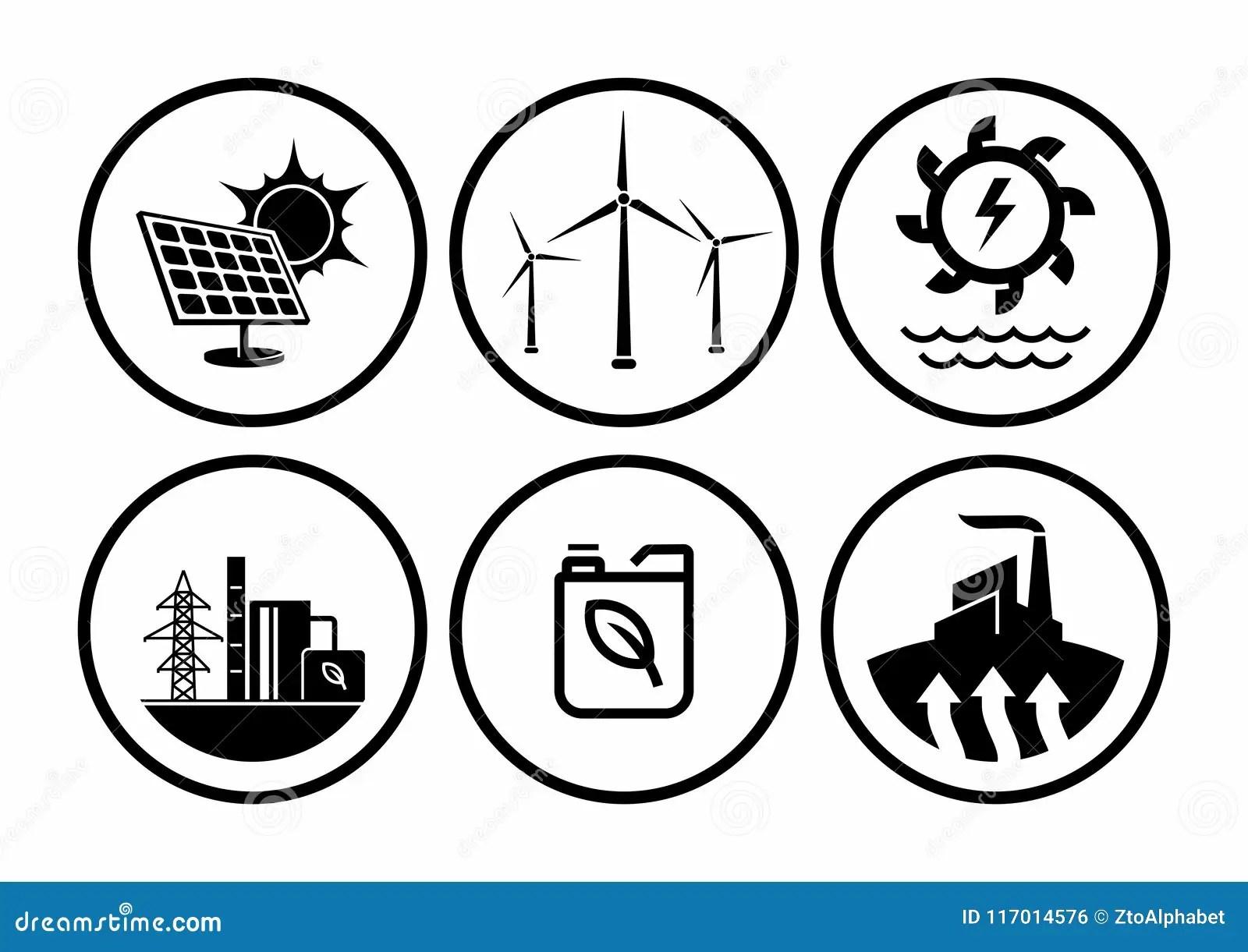 Tipi Dell Energia Rinnovabile Insieme Di Vettore Delle