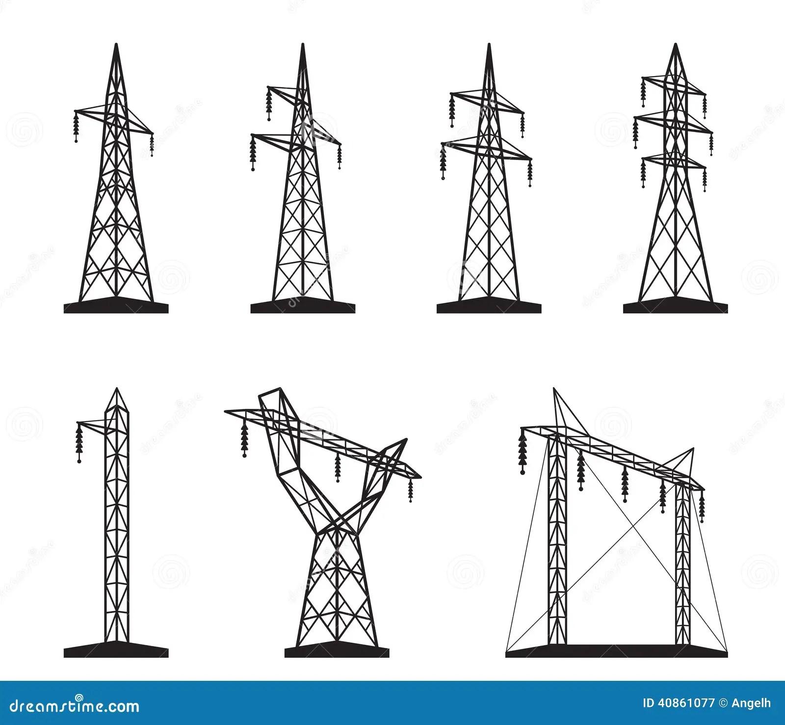 Tipos Electricos De La Torre De La Transmision Ilustracion