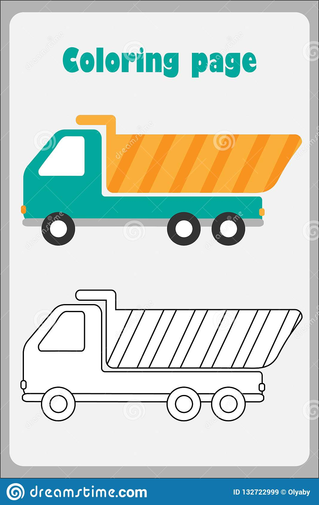 Tipper Truck In Cartoon Style Coloring Page Education