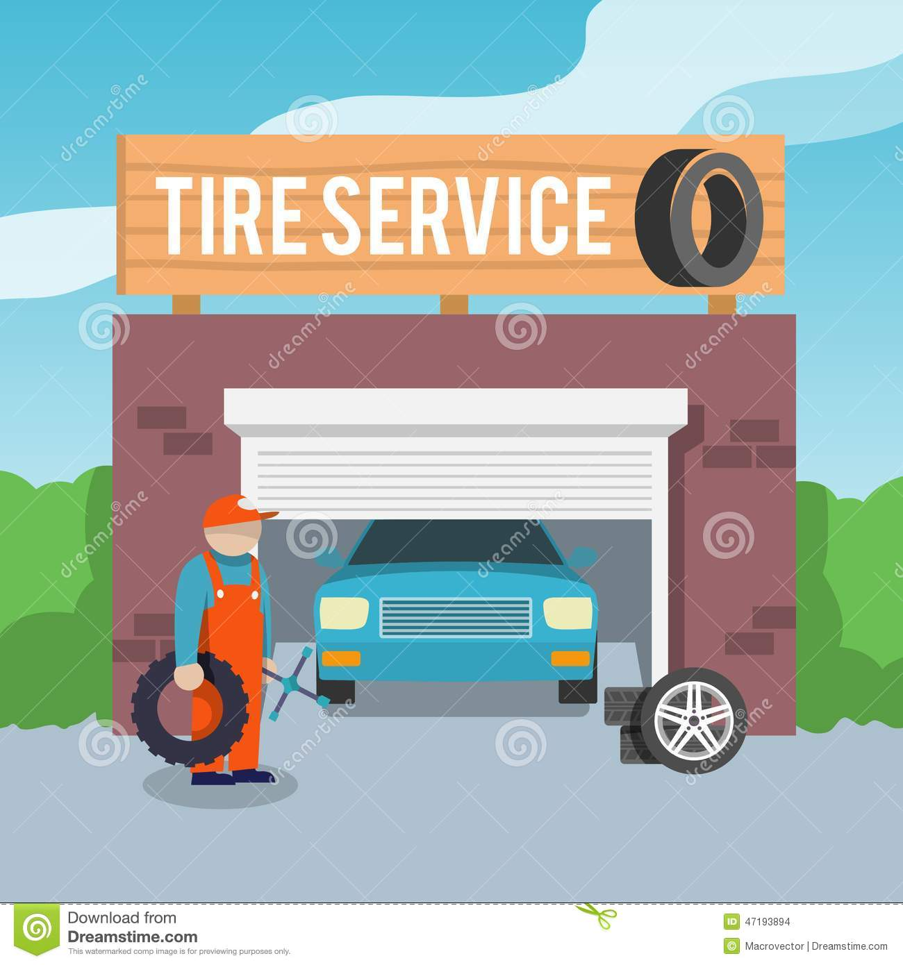 Tire service poster stock vector Image of service person  47193894