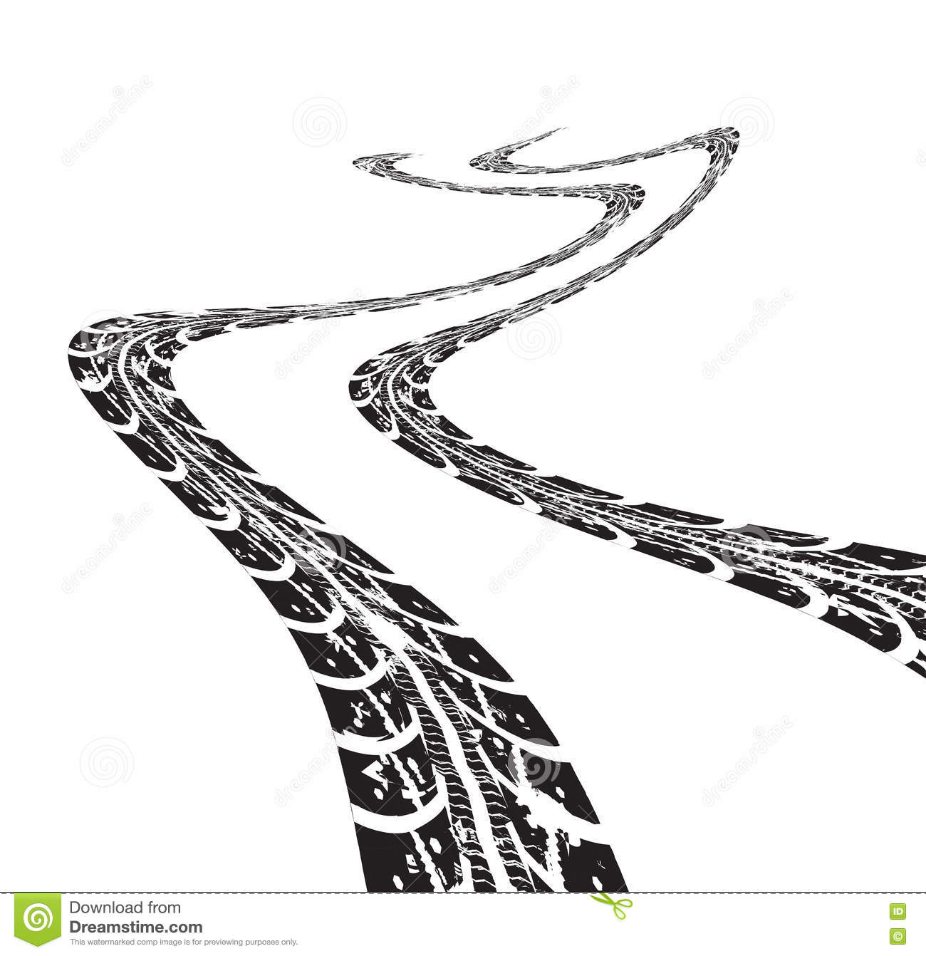 Tire Tracks Vector Stock Vector Illustration Of Bike