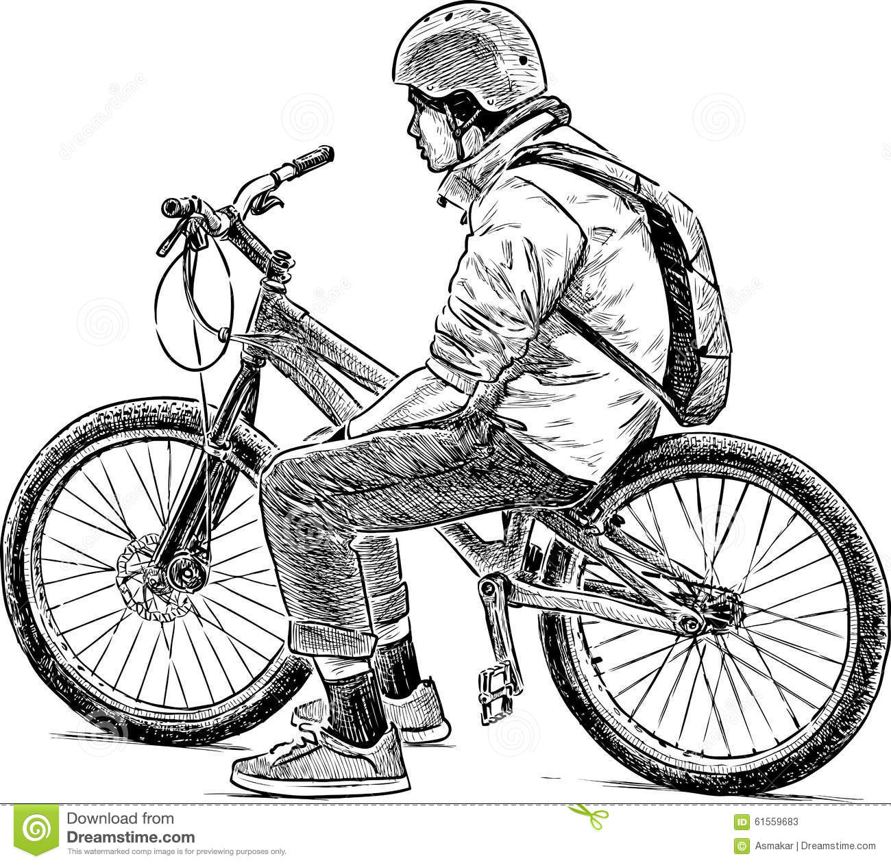 Tired Bicyclist Stock Vector