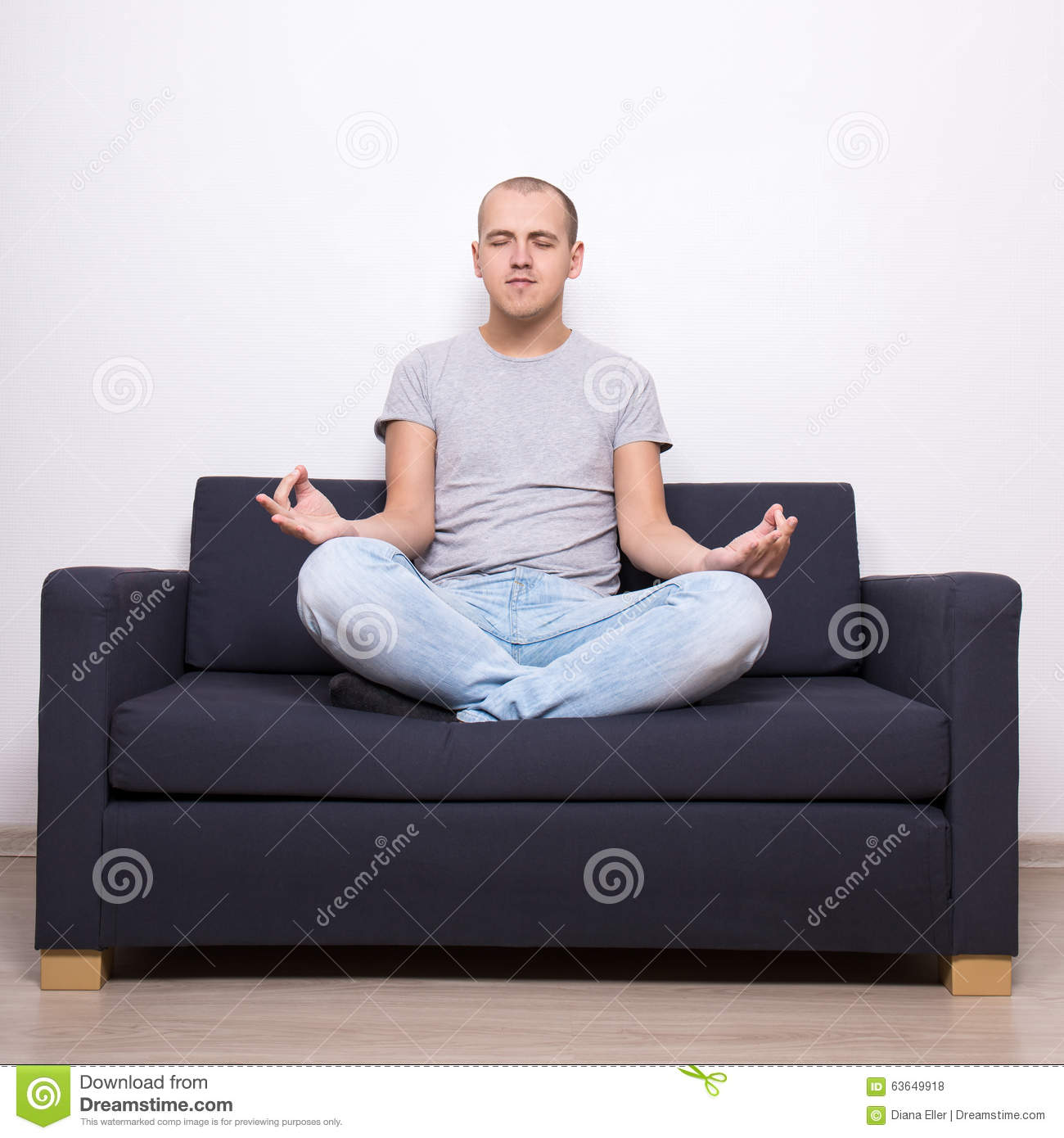 yoga sofa cotton cover manufacturer india tired man sitting on in pose stock photo image