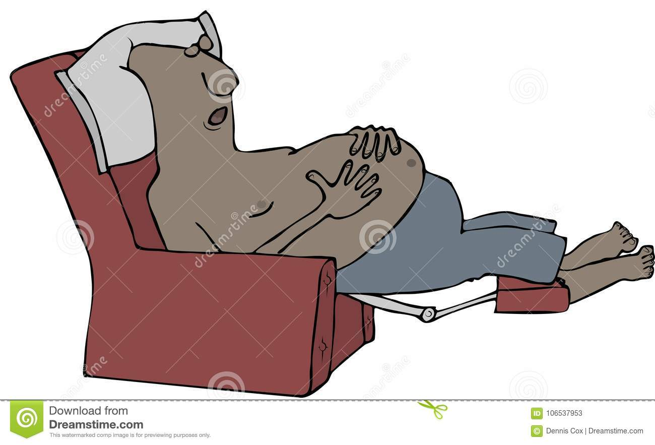 Sleep Recliner Chair Tired Man Sleeping In A Recliner Stock Illustration Illustration