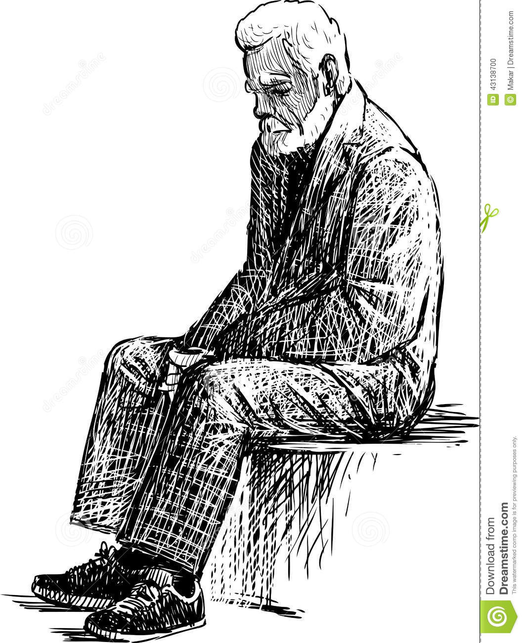 Tired Old Man Stock Vector