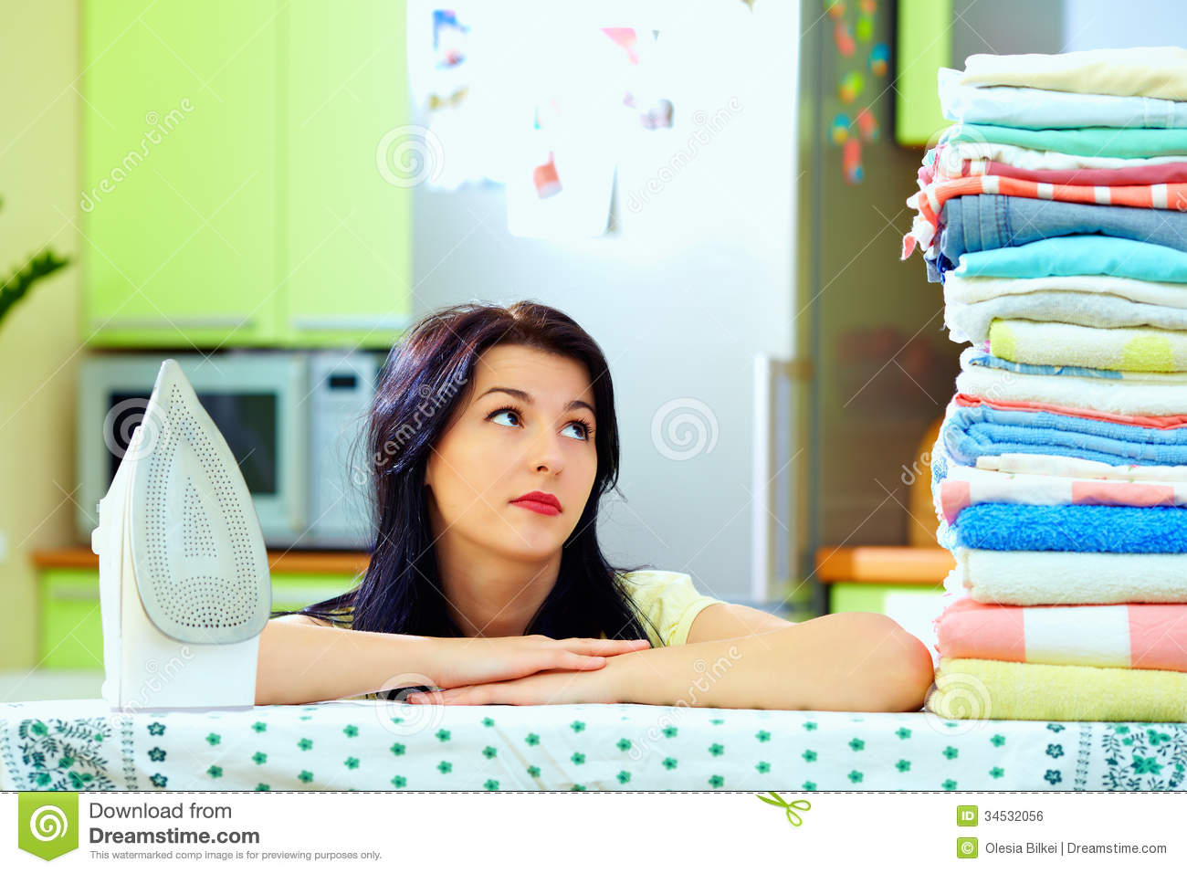 Tired Woman After Ironing Clothes Home Interior Royalty