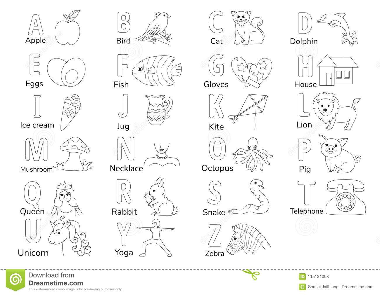 A TO Z stock vector. Illustration of printable, preschool