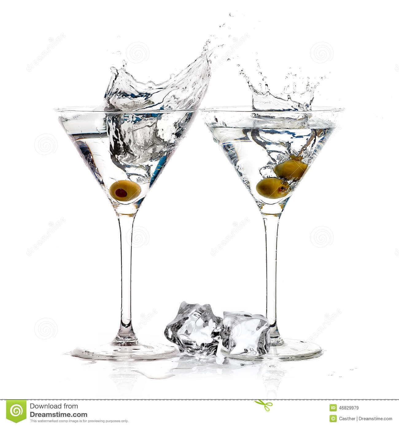 A Toast With Dry Martini Cocktail Splash Stock Image