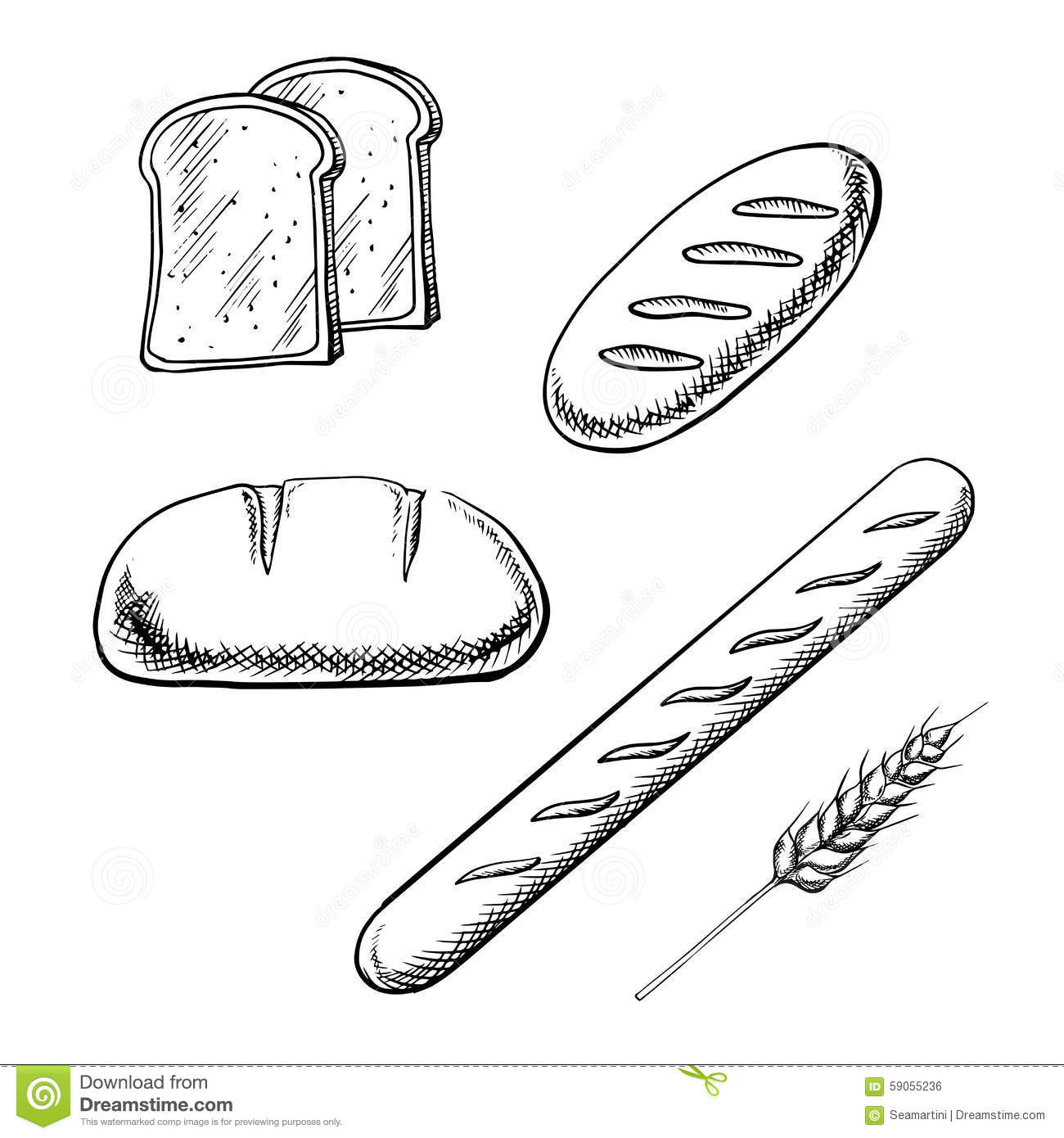 Toasts Long Loaves Baguette And Wheat Ear Stock Vector