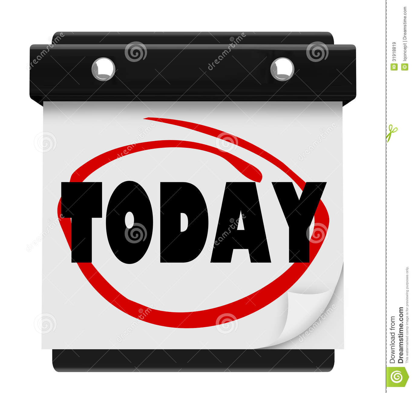 Today Word Wall Calendar Reminder Schedule Now Stock