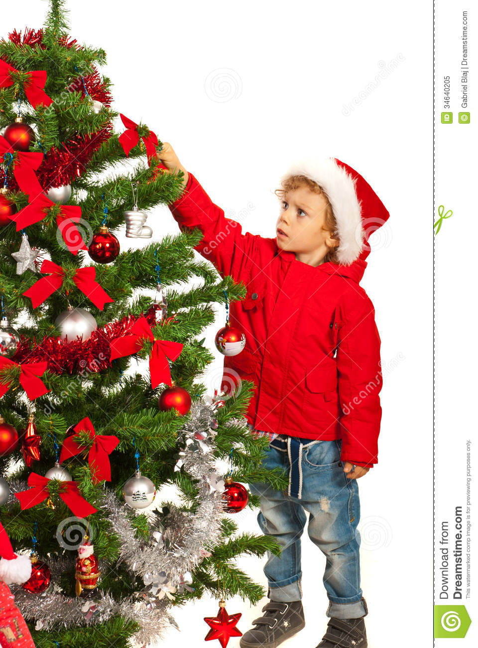 Toddler Boy Decorate Tree Royalty Free Stock Photo  Image