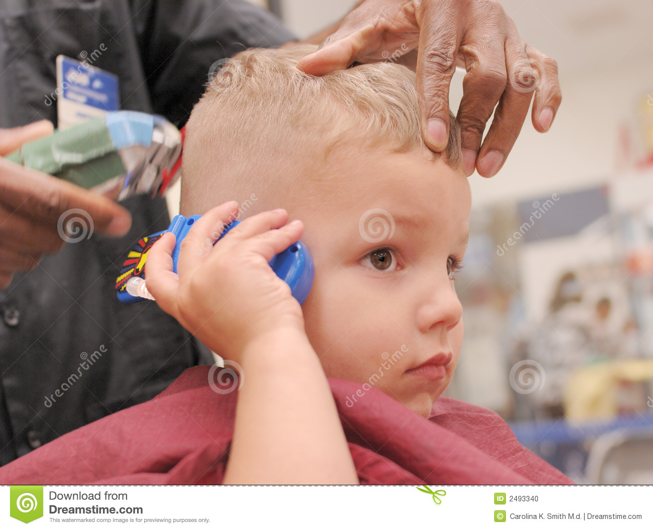 Toddler Boy Getting Haircut Stock Photo Image Of