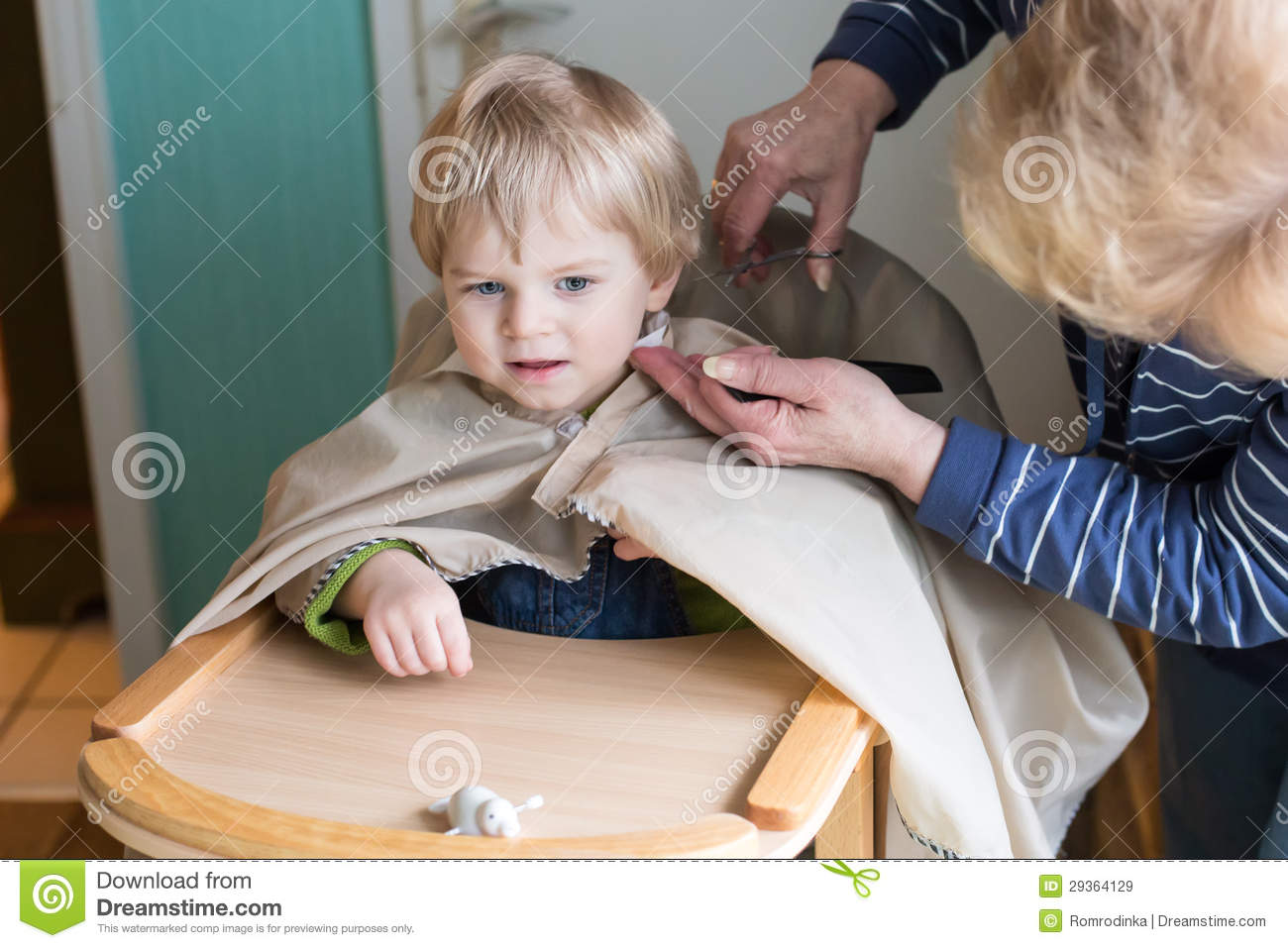 Toddler Boy Getting His First Hair Cut Royalty Free Stock