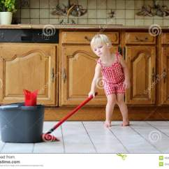 Cleaning Kitchen Floors Trash Can Toddler Girl Mopping Floor Stock Image Of