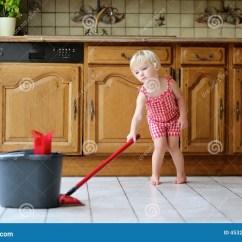 Best Kitchen Floor Cleaner Aide Blender Toddler Girl Mopping Stock Image