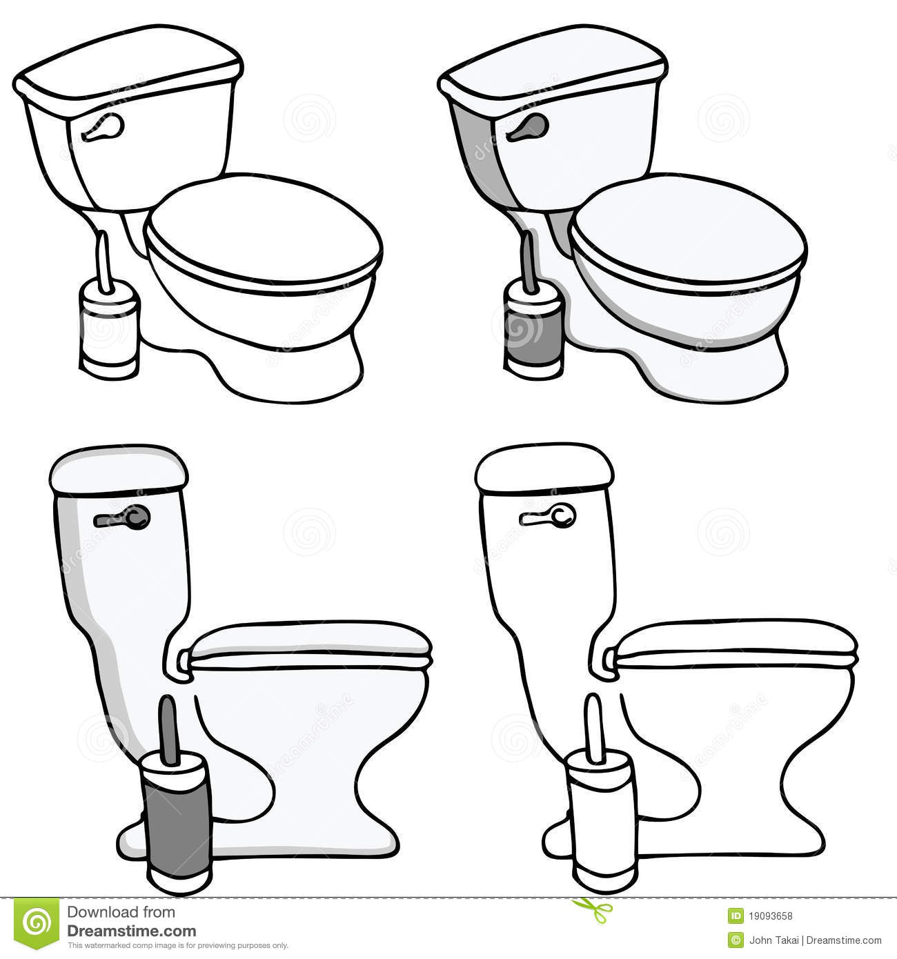 Toilet Commode Set Stock Vector Illustration Of White