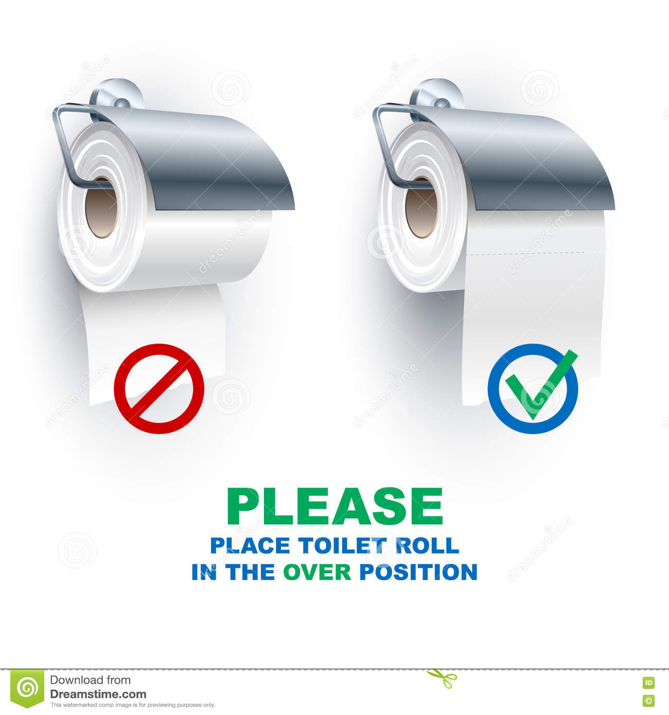 Toilet Paper Roll Spindle Under Over Position Rules Stock