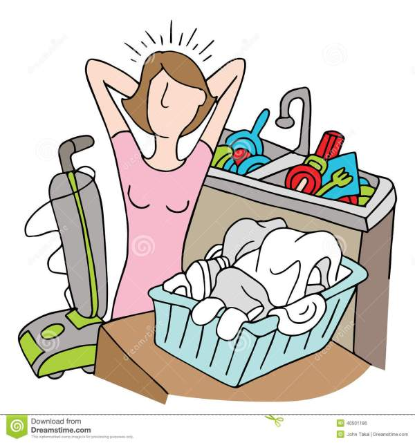 Too Many Chores Woman stock vector Illustration of busy
