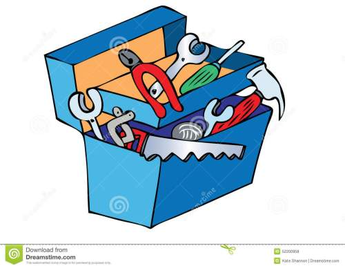 small resolution of toolbox a cartoon blue toolbox containing various tools stock illustration