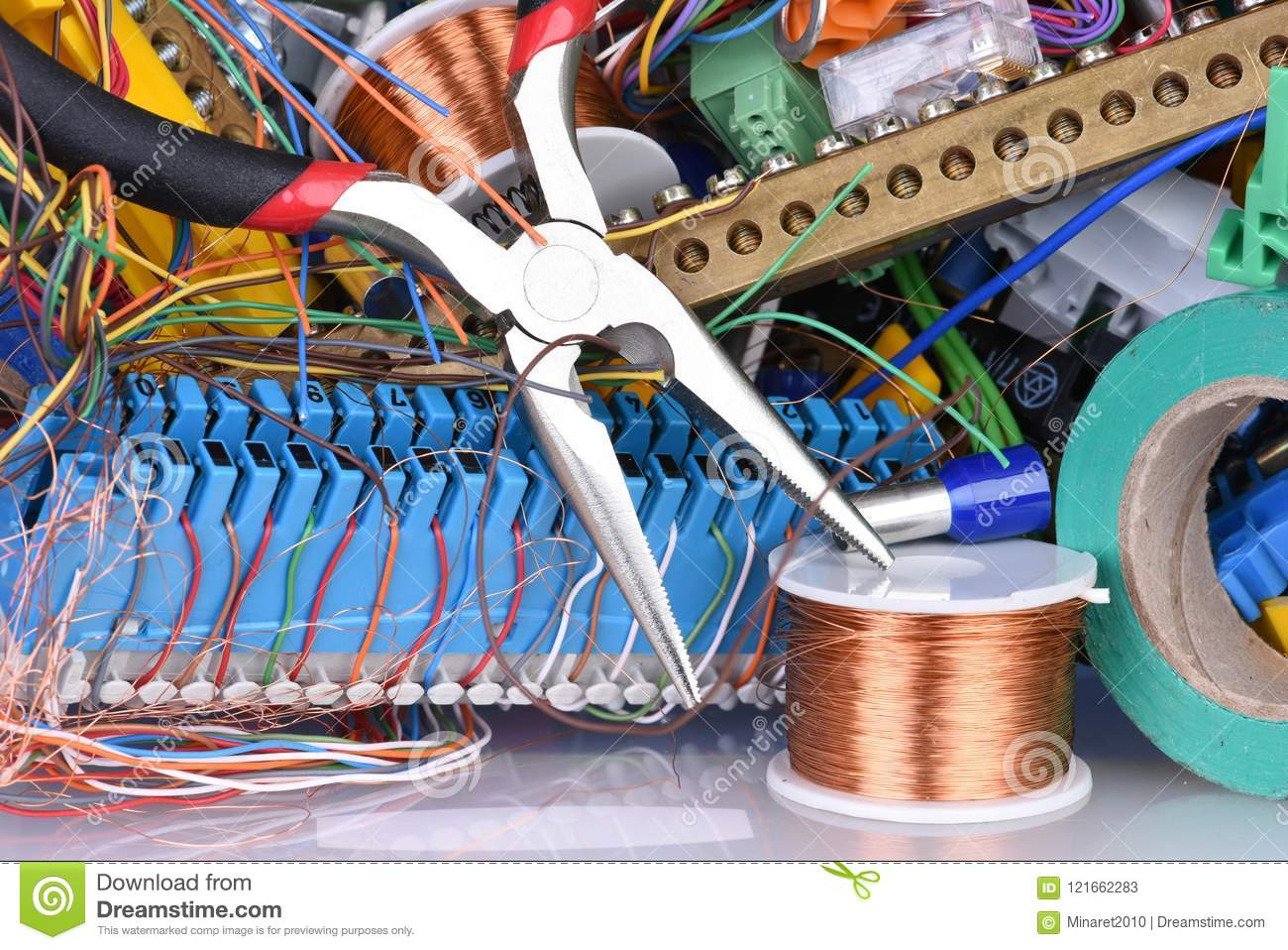 hight resolution of tools and cables used in electrical home installation