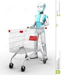 shopping robot boy trolley toon cartoon cart pushing empty preview illustration
