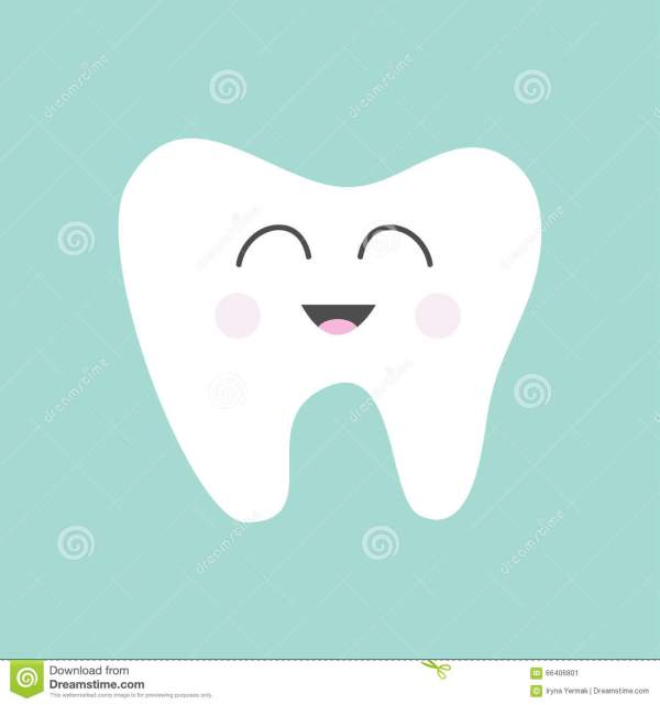Tooth Icon Cute Funny Cartoon Smiling Character Oral