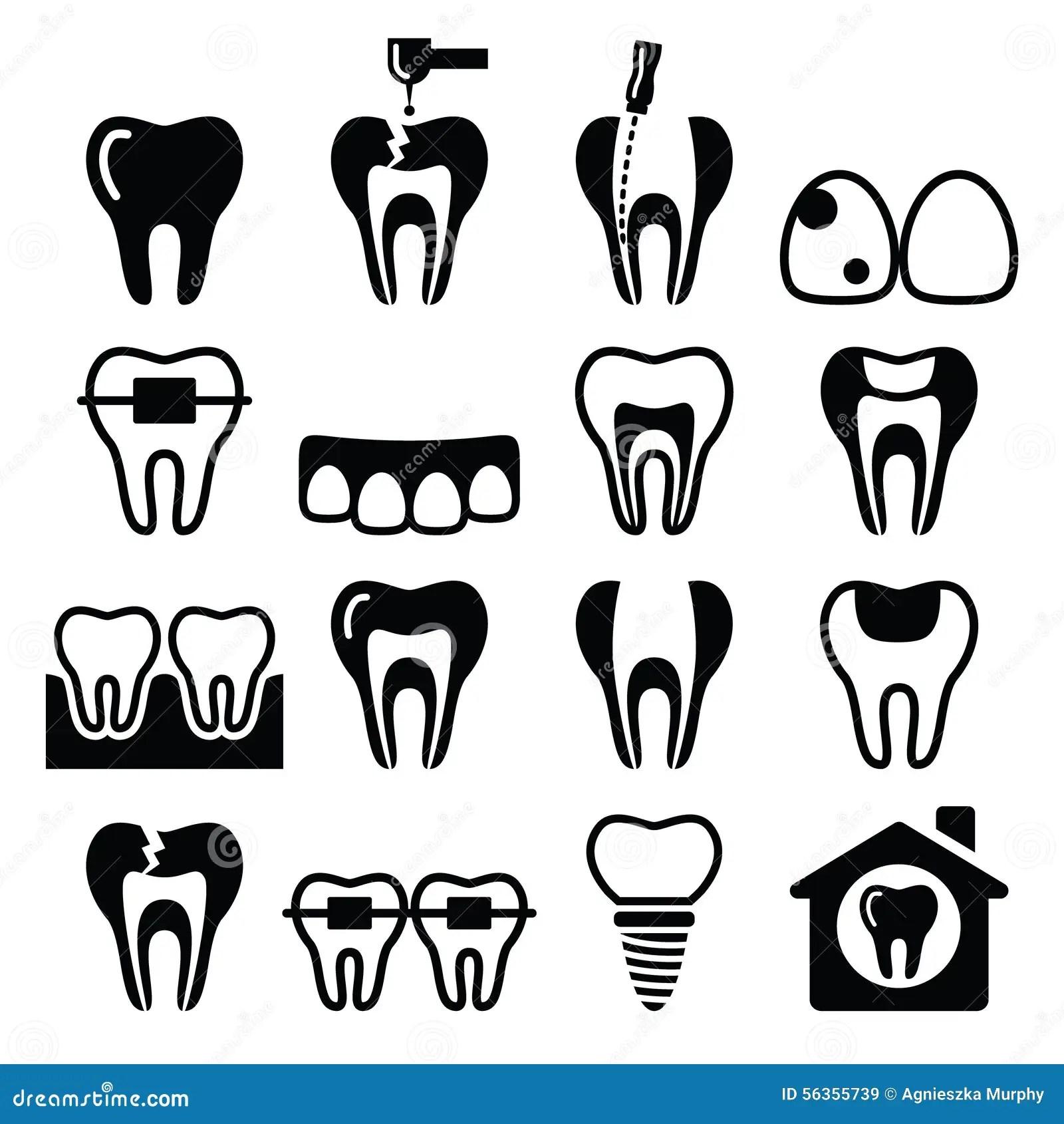 Tooth Teeth Dental Clinic Icons Set Stock Illustration