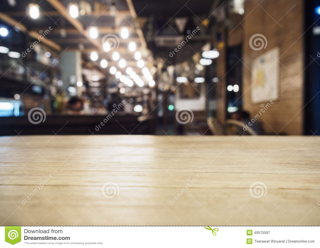 Top Of Table With Bar Cafe Restaurant Blurred Background