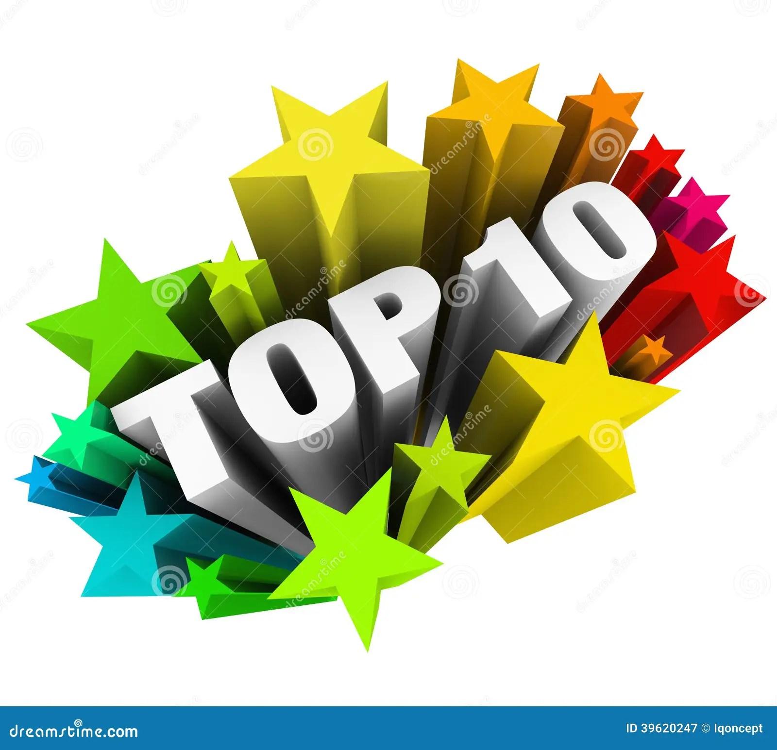 Top 10 Ten Stars Celebrate Best Review Rating Award Stock