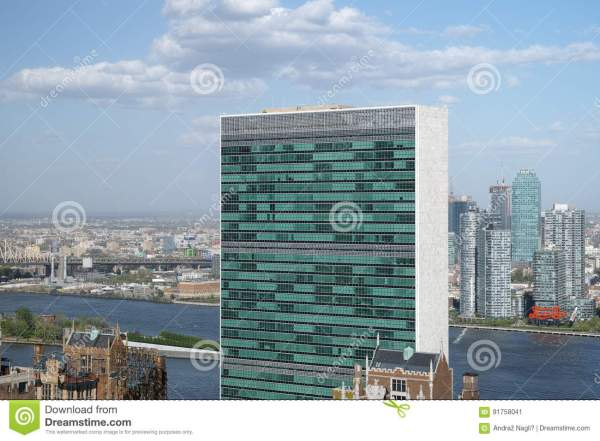 Top Of United Nations Secretariat Building With Puffy