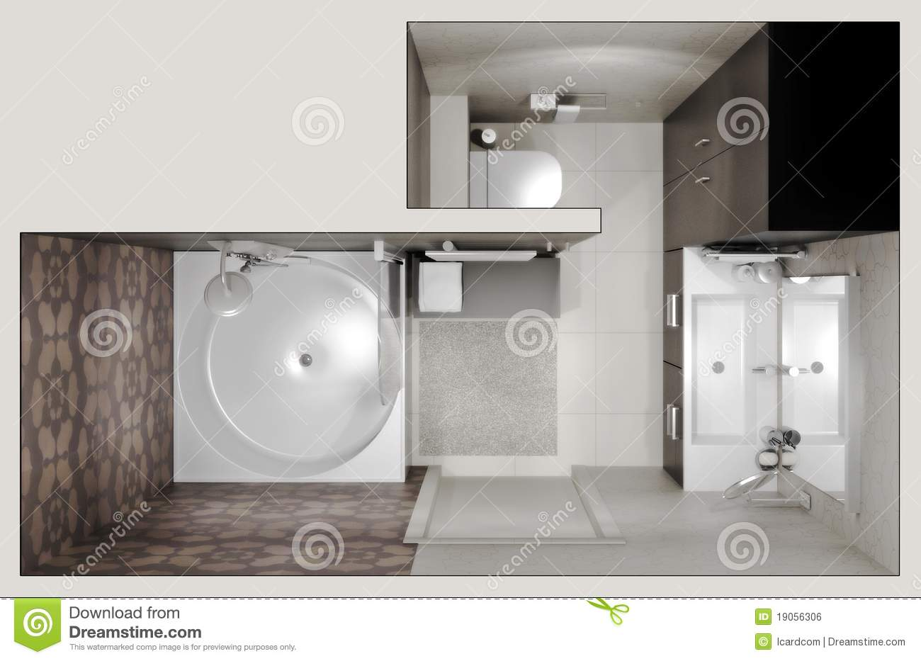 Top view of the bathroom stock illustration Illustration of marble  19056306